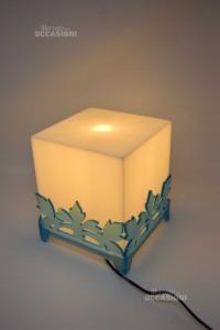 Lampada Cubica In Plastica Desing Azzurra