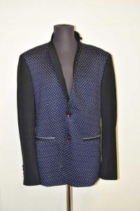 Jacket Man Monopetto 2 Buttons,sartoria Ranieri Size.56 Black Blue Polka Dot