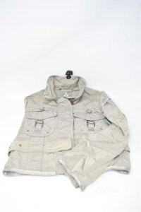 Jacket Baby Girl Peuterey Size.m 8 / 10 Years Gray With Belt