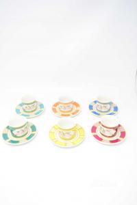 Servizio Di 6 Tazzine In Ceramica Colorata Coppia Putti.