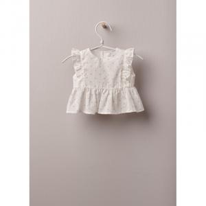 Blusa floreale in tessuto di cotone leggero, ottima per neonati e bambine, fino a 24 mesi. Blusa in COTTON BABY floreale con fantasia floreale su fondo avorio, allacciata dietro con bottoni in madreperla.