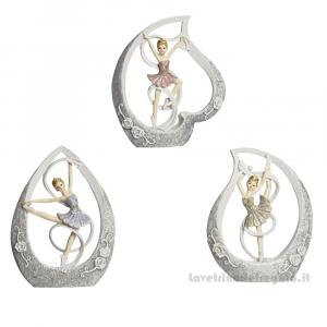 Ballerina danza classica glitter dentro una goccia in resina 13x10 cm - Bomboniere comunione bimba