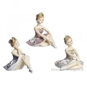 Ballerina danza classica glitter seduta in resina 7x8 cm - Bomboniere comunione bimba