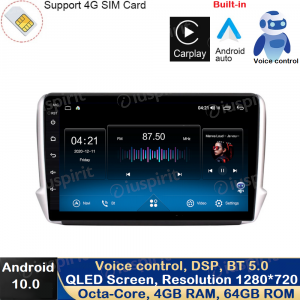 ANDROID 10 autoradio navigatore per Peugeot 2008 Peugeot 208 2012-2016 GPS USB WI-FI Car Play Android Auto Bluetooth 4G LTE