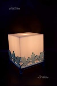 Lampada Cubo Desing In Pvc Fantasia Azzurra 18 X 18 X 22 Cm