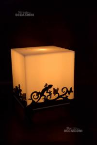 Lampada Cubo Desing In Pvc Fantasia Nera Lucertole 18 X 18 22 Cm
