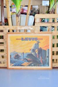 Quadro Stampa Vintage Levi's Cowboy Che Piega I Jeans 85 X 68 Cm