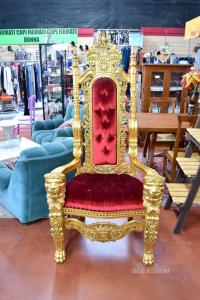 Trono Lion stile Barocco Gold poltrona reale Oro laccato velluto bordeaux