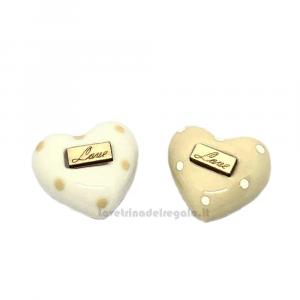 Magnete Cuore a pois con scritta Love in porcellana 3.5 cm - Bomboniera matrimonio