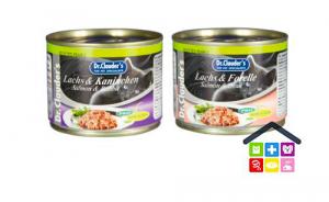 Dr. Clauder's | Umido Gatto - Linea Selected Pearl | Hair & Skin -Gamberetti,tacchino,salmone e trota, fegatini di pollo,anatra,pesce di mare, salmone e coniglio, agnello e vitello,/ Scatoletta 200gr
