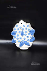 Ceramica Da Appendere Vaso Di Fiori Bianco Blu 15 Cm