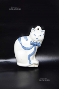 Ceramica Da Appendere A Forma Di Gatto Bianco Blu 16 Cm