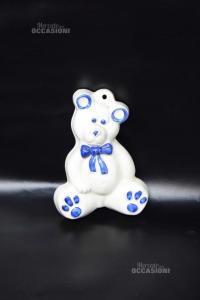 Ceramica Da Appendere A Forma Di Orso Bianco Blu 16 Cm