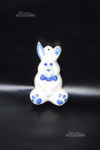 Ceramica Teresa A Forma Di Coniglio Bianco Blu 16 Cm