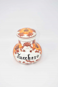 Zuccheriera In Ceramica Dipinta A Mano Fiori Arancioni, 15 Cm Di Altezza.