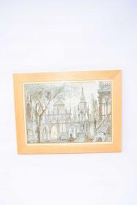 Quadro Acquerello E China Raffigurante Chiesa Gotica 34 X 26 Cm