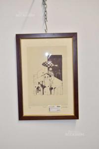 Quadro Litografia Di Renato Varese Raffigurante Treviso 50 X 35 Cm