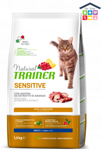 Trainer | Linea Solution Cat Dry | Sensitive Adult - Anatra / 0,300g /1,5kg (Sacchetto)