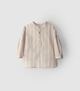 Camicia a righe stile tunica con collo alla coreana.