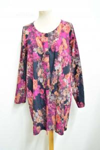 Jacket Woman Emotiva Floral Size .xl Black -x- Orange,made In Italy