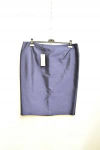 Skirt èblue Deimos Blue Dark Size.51 Made In Italy 100% Silk New