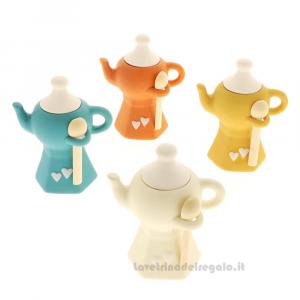 Zuccheriera Moka a forma di teiera con cuori in porcellana 12 cm - Bomboniere matrimonio