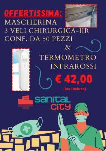 OFFERTISSIMA: MASCHERINA CHIRURGICA CONF.50PZ + TERMOMETRO A INFRAROSSI