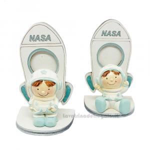 Statuina bambino Astronauta Celeste su Shuttle 5.5x4x9 cm - Bomboniera bimbo