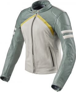 Giacca moto donna pelle Rev'it Meridian Ladies Bianco Verde