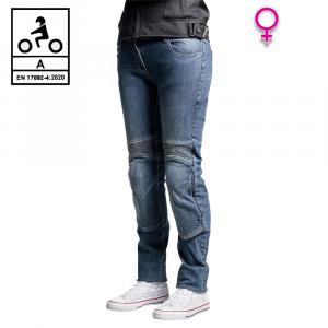 Jeans moto donna Befast Iron Tech Lady CE Certificati con fibra aramidica Blu