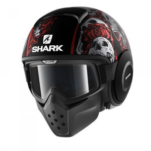 Casco jet Shark Drak Sanctus nero opaco rosso antracite