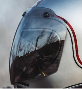 Visiera 3 bottoni cromata argento Premier per casco MX
