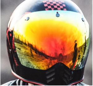 Visiera 3 bottoni cromata rossa Premier per casco MX