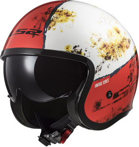 Casco jet LS2 OF599 SPITFIRE RUST Bianco Rosso
