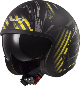 Casco jet LS2 OF599 SPITFIRE GARAGE Nero opaco Giallo