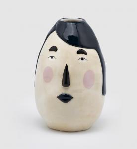 Vaso Ceramica grande viso capelli neri