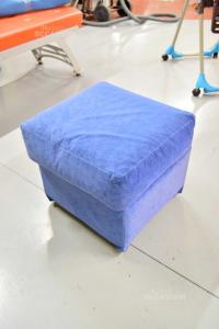 Puff Stool In Fabric Type Alcantara Blue 55x55 Cm