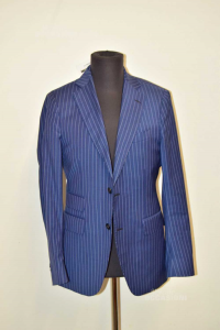 Jacket Man Angelico Collection Blue With Stripes White Size 46
