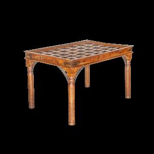 Tavolo in legno di palissandro indiano con portale in teak