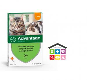 Advantage 40 Soluzione Spot-on Gatti/Conigli da 0 a 4 kg