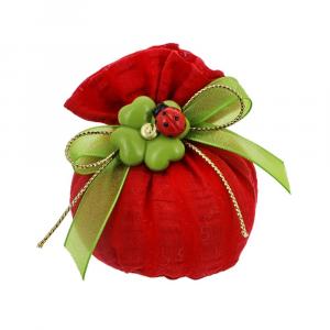 Sacchetto base tonda tessuto righe rosso Laurea