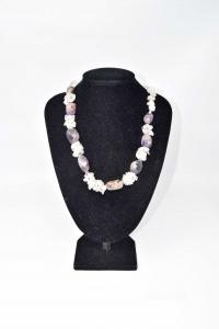 Necklace In Stone Quartz Pink