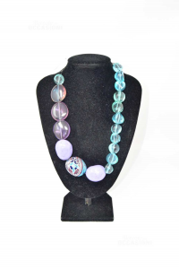 Necklace Handcrafted In Resina Light Blue Purple