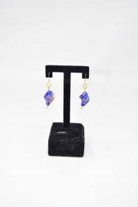 Earrings Glass Blue Golden