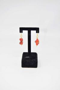Earrings Glass Orange Red