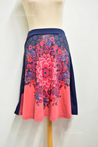Skirt Woman Desigual Flower Pink Central Size.m