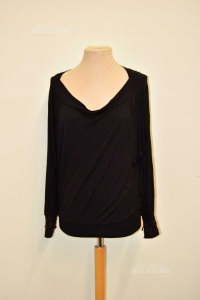 T-shirt Woman Guess With Sleeves Lavorate Pearls Black Size,m