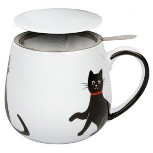 Tazza tisaniera con filtro porcellana gatto