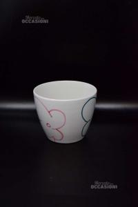 Vase Flowers White In Ceramic With Flowers Stilizzati 13x16 Cm Diameter