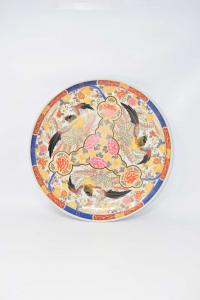 Ceramic Plate Oriental Amarir Orange And Blue With Fenici 36 Cm